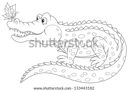 Crocodile and butterfly, black-and-white outline for a coloring book - stock vector
