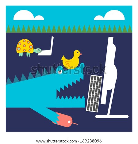 Crocodile and Turtle and Duck are Working on Computer - stock vector
