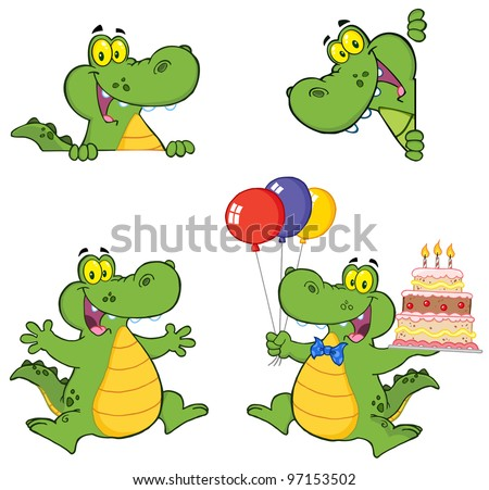 Crocodile Cartoon Characters. Vector Collection.Jpeg version also available in gallery. - stock vector