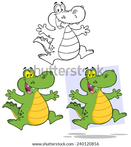 Crocodile Cartoon Mascot Character Jumping. Vector Collection Set - stock vector