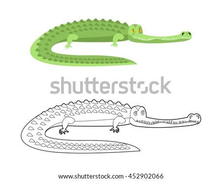 Crocodile Coloring book.  - stock vector
