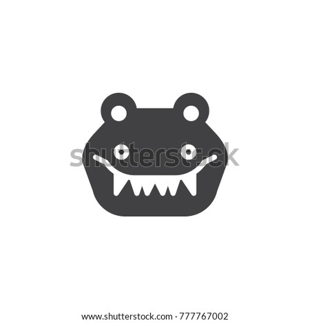 Crocodile Head Icon Vector Filled Flat Sign Solid Pictogram Isolated On White Alligator