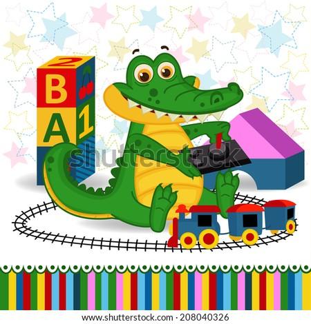 Crocodile railroad  - vector  illustration, eps  - stock vector