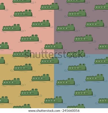 Crocodile swimming in the water four tone seamless pattern cartoon kid design  - stock vector