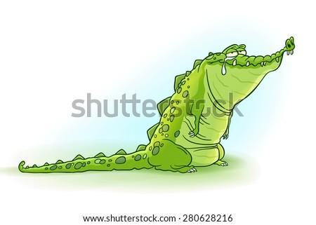 Crocodile tears - Vector illustration of cute and crazy cartoon crocodile  - stock vector