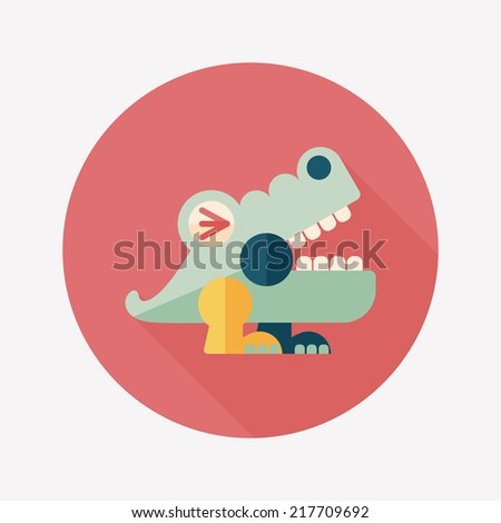 crocodile toy flat icon with long shadow,eps10 - stock vector