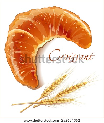 Croissant, bakery products - realistic vector images - stock vector