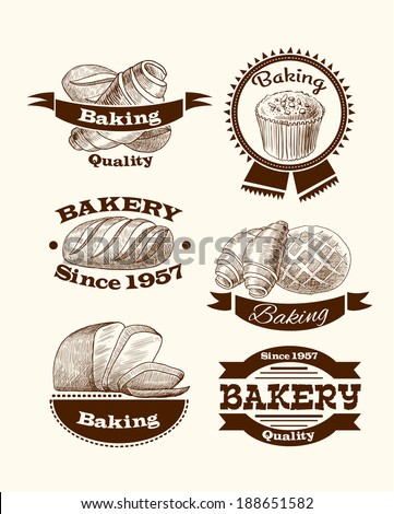 Croissant cake and traditional bread quality baking advertising food signs vector illustration
