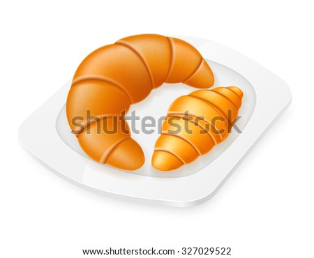 croissants lying on a plate vector illustration isolated on white background - stock vector