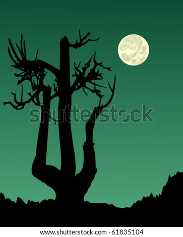 Crooked tree under a full moon - stock vector