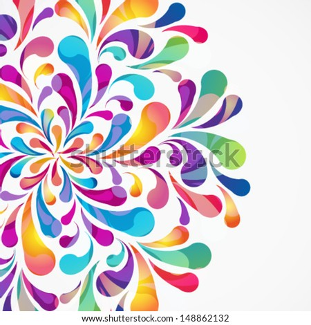 Crop circle made of colorful arc drops. Decorative background. - stock vector