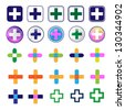 Cross And Adhesive Bandage - Medical Icons - Isolated On White Background - Vector illustration, Graphic Design Editable For Your Design. Logo Symbols - stock vector
