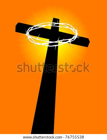 cross and crown of thorns on an orange background - stock vector