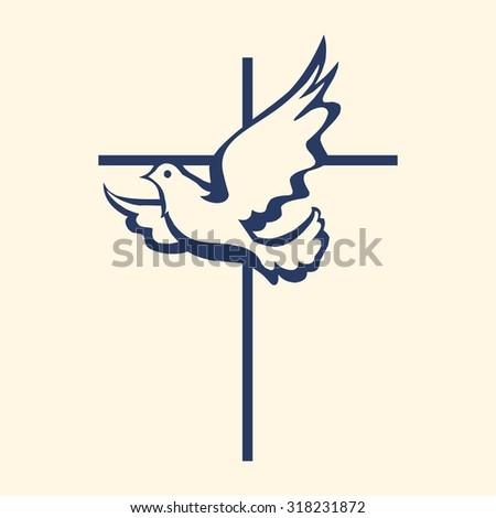 Cross and dove icon - stock vector