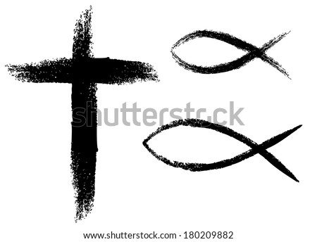 Cross and fish, Christian symbols. - stock vector