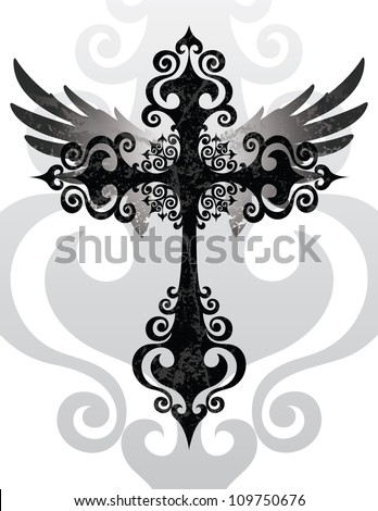 Cross and Wings (Stylized cross and angel wings) - stock vector