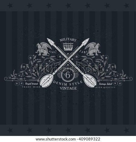Cross Arrows With Floral Pattern and Two Griffin. Military Heraldic Label On Blackboard - stock vector