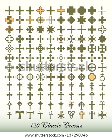 Cross - Collection of 120 isolated classics. - stock vector
