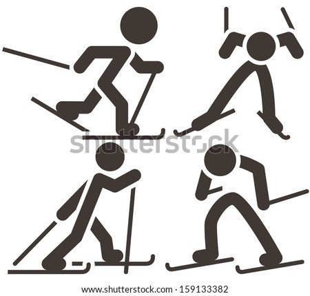 Cross-country skiing icons  set - stock vector