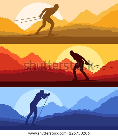 Cross country skiing vector background with mountains in different day time - stock vector
