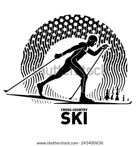 Cross-country skiing. Vector illustration in the engraving style - stock vector