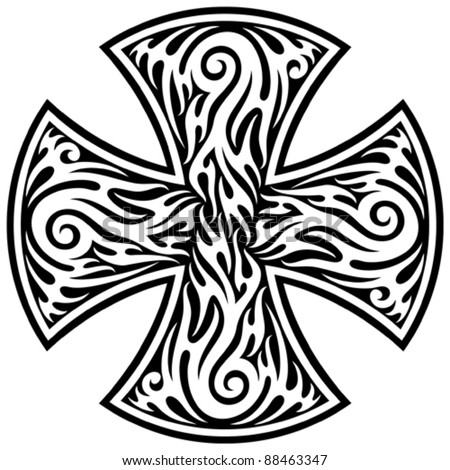 cross (cross tribal tattoo) - stock vector