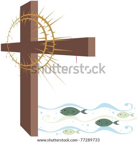 Cross Crown Thorns Fish Some Symbols Stock Vector 77289733