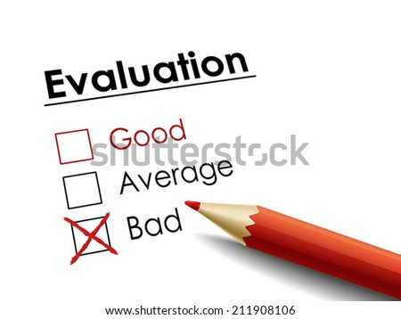 cross drawn on evaluation check box by a red pen