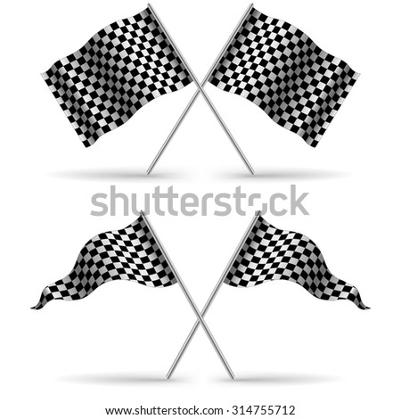 Cross Finish Flags with shadow Isolated on a White Background. Start flag Formula 1. Stock vector illustration  - stock vector