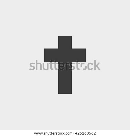 Cross  icon in a flat design in black color. Vector illustration eps10 - stock vector
