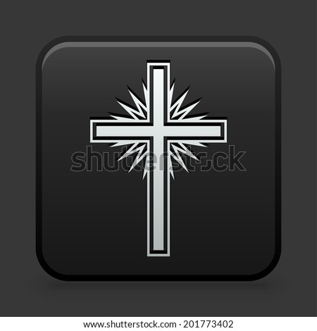 Cross Icon on Black and White Button  - stock vector