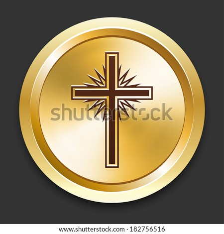 Cross Icons on Gold Button Collection - stock vector