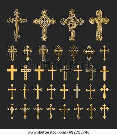 Cross icons set. Decorated crosses signs or ornamented crosses symbols. Vector illustration