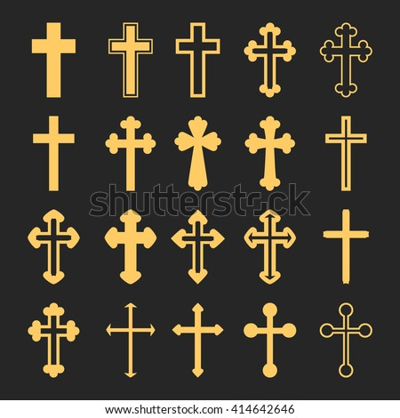 Cross icons set. Decorated crosses signs or symbols. Vector illustration