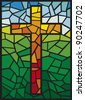 cross in stained glass style - stock photo