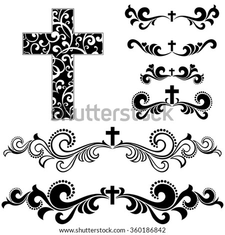 Cross Isolated On White Background Collection Stock Vector 360186842