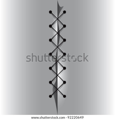 Cross linked thread seam, vector illustration. - stock vector