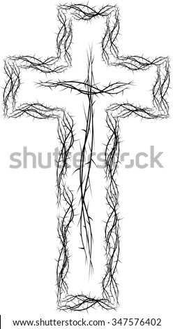Cross of thorns, black and white simple vector illustration, symbol of the passion of Jesus Christ and Lent season. - stock vector