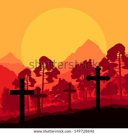 Cross on a hill at sunset vector background concept landscape - stock vector