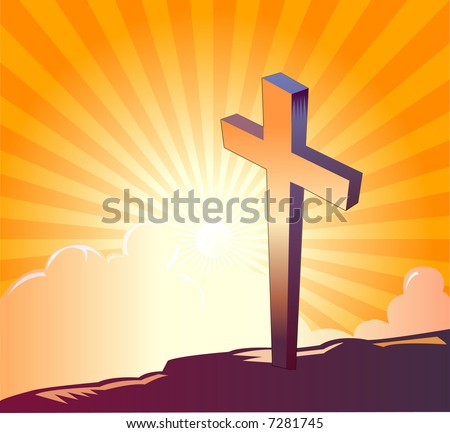 Cross on top of a mountain and sunrise in the background - VECTOR - stock vector