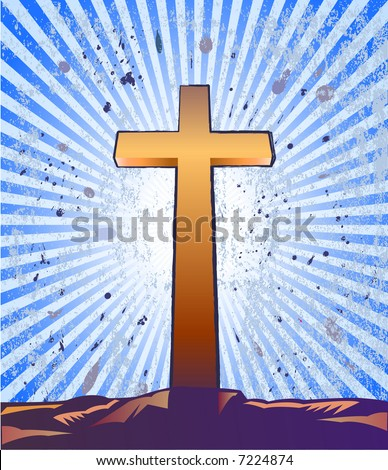 Cross over a grunge background — VECTOR - stock vector