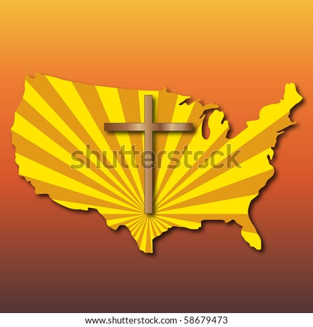 Cross over the USA - stock vector