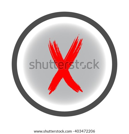 Cross red sign in gray circle. Isolated on white  background .Cross red in gray symbol marks.Cross sign picture. Gray sticker vector illustration. Flat vector image. Vector illustration. - stock vector