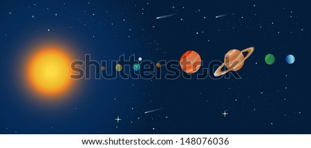cross section of the solar system - stock vector