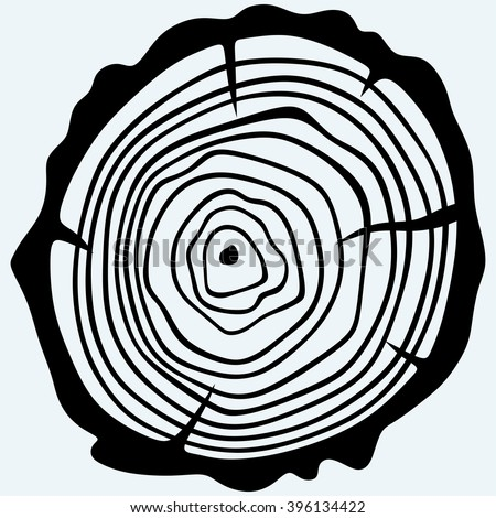 Cross section of tree stump. Isolated on blue background. Vector silhouettes - stock vector
