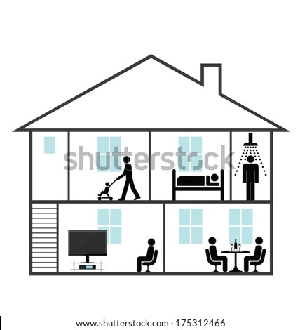 Cross section through a family home isolated on white background