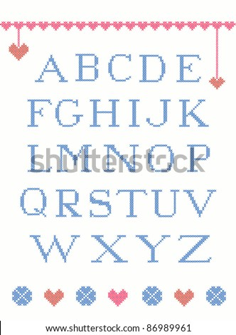 Cross stitch alphabet with design elements suitable for christmas - stock vector