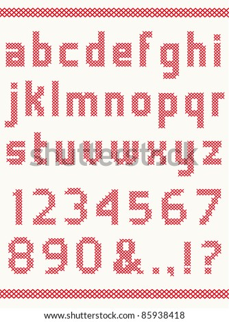 Cross stitch alphabet with numbers - stock vector