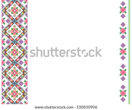cross-stitch template background in folk style with space for text. embroidered good like handmade ethnic Ukraine pattern - stock vector
