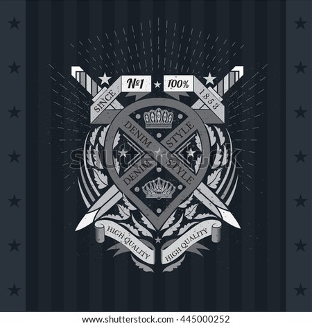 Cross swords with wrapped ribbon in center of leaf pattern. Heraldic vintage label on blackboard - stock vector